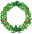 Christmas wreath with cones vector image
