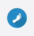 footprint Flat Blue Simple Icon with long shadow vector image