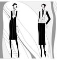 romantic art deco women in coats vector image