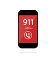 911 call in phone number emergency in smartphone vector image