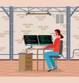 a young woman sitting at table writing code vector image