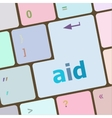 aid word with key on enter keyboard vector image vector image