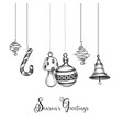 artistic christmas decorations hand drawn black vector image