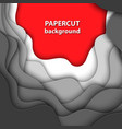background with white gray and red paper cut vector image vector image
