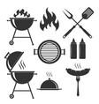 bbq set icons vector image