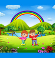 boy and girl selfie photo with beautiful nature vector image vector image