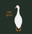 card with cute goose vector image vector image