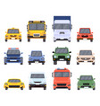 cars front view flat urban vehicles taxi police vector image