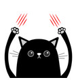 cartoon black cat claw scratching red bloody vector image vector image