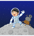 Cartoon boy astronaut on moon