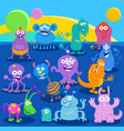 cartoon fantasy monster or alien characters vector image vector image