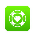 casino chips icon green vector image