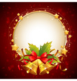 Christmas decorative golden congratulation card vector image