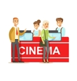 Cinema Visitors Buying Tickets At Counter Part Of vector image vector image