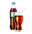 cola bottle icon soda bottle with white lable and vector image vector image