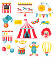 collection colorful elements for circus vector image