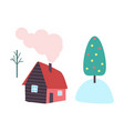 country house chimney and smoke from pipe vector image vector image