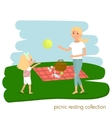 Family picnic resting Mother with daughter on vector image vector image