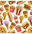 fast food sketch icons seamless pattern vector image vector image