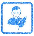 feather writer framed stamp vector image