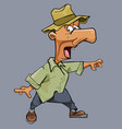 funny cartoon scared man in a hat and a big nose vector image vector image