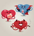 funny valentines hearts with demon vector image vector image