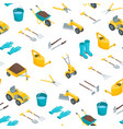 garden tools 3d seamless pattern background vector image vector image