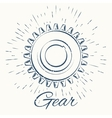 gear and vintage sun burst frame vector image vector image
