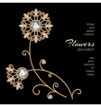 Gold jewelry flowers vector image