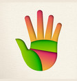 green human hand cutout for environment help vector image vector image