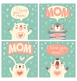 Greeting card for mom with cute animals vector image