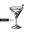 Hand drawn sketch cocktail martini vintage vector image vector image