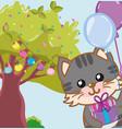 happy birthday cat vector image vector image