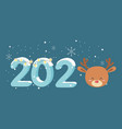 happy new year 2020 celebration reindeer head vector image