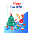 happy new year - modern colorful isometric web vector image vector image