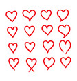 heart icon design hand draw vector image vector image