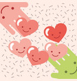 kawaii hands hearts love cartoon donate charity vector image vector image