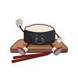 kawaii sushi oriental food wooden plate chop vector image vector image