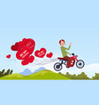 man riding motor bike with heart shaped air vector image vector image