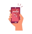 Mobile Phone in Hand with Sale and Percentage Sign vector image vector image