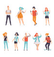 modern people with tattoos set men and women vector image vector image