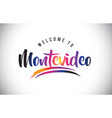 montevideo welcome to message in purple vibrant vector image vector image