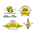 moto biker theme icon set cafe racer golden vector image