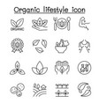 organic lifestyle icon set in thin line style vector image vector image