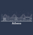 outline athens greece city skyline with white