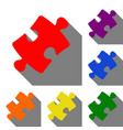 puzzle piece sign set of red orange yellow vector image