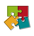 puzzle pieces separated icon image vector image