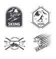 Retro skiing labels emblems and logos set vector image vector image