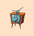 retro tv cute smiley face character vector image vector image