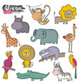 set cartoon african animals colorful vector image vector image